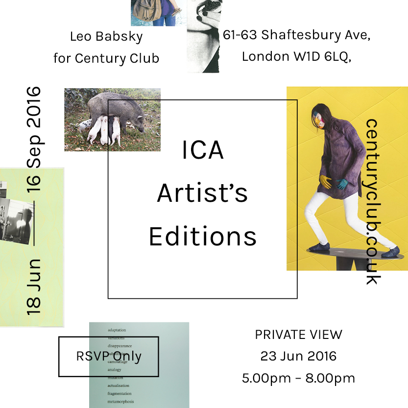 ICA: ARTIST'S EDITIONS in collaboration with The Institute of Contemporary Arts is running until 16th Sep.
